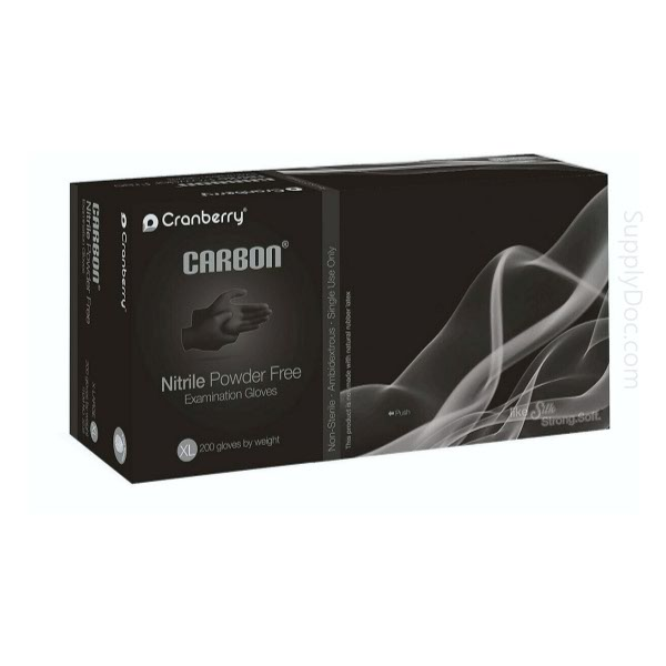 Nitrile exam glove carbon black by Cranberry image